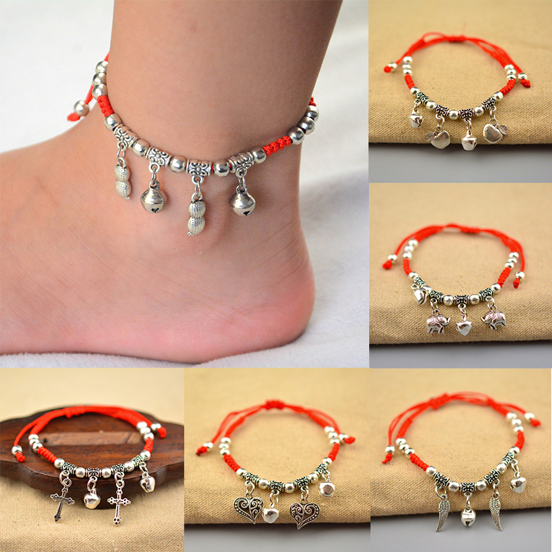 1PC Hot Adjustable Palm Alloy Elephant Dragonfly Palm Cross Heart Anklets For Women Red Rope Chain