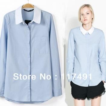 f07b4ae36b2 2013 Autumn New Fashion European   American Style Women White Collar Long-sleeved  Light Blue Corron Shirt OL Business Shirt 649