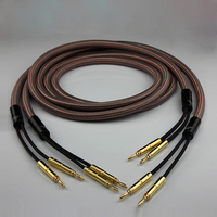Free shipping pair Accuphase OCC pure copper audio speaker cable with Gold plated banana plug