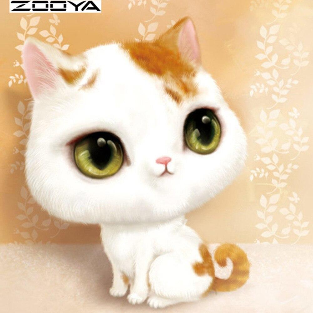 ZOOYA Diamond Embroidery Landscape 5D DIY Diamond Painting Full Dill Round Diamond Mosaic Cartoon Cat Wall Sticker Images RF905