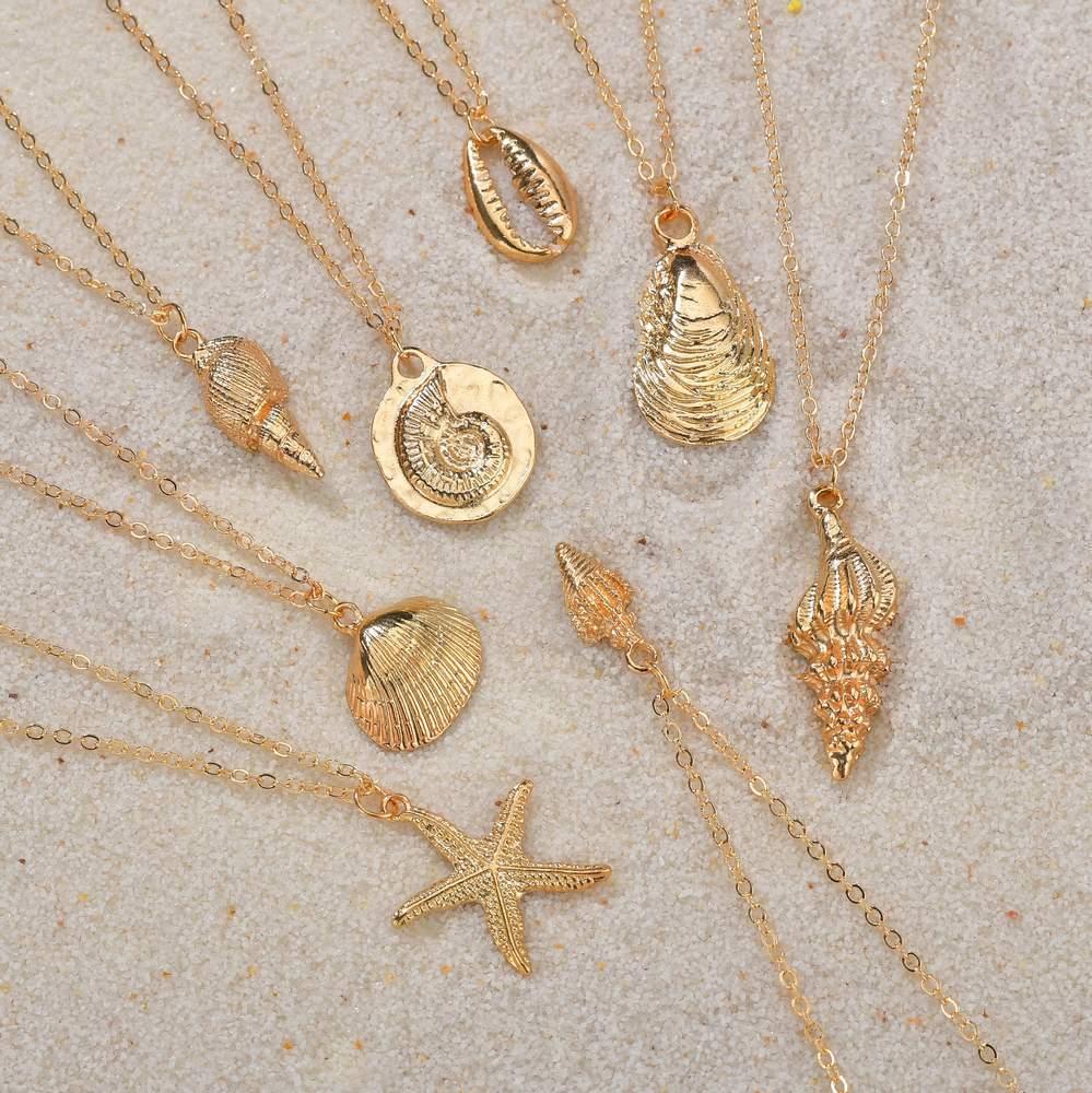 Huitan Women Conch Necklaces Fashion Gold Color Sea Shell Sea Star Shaped Pendant Simple Female Necklaces Wholesale Lots&Bulk