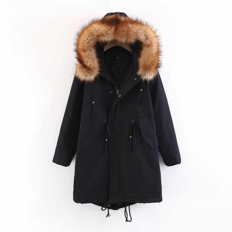 New Long European American Style Large Size Jacket Slim Cotton Coat Female Large Fur Collar Long Thick Hooded Parker Winter Coat
