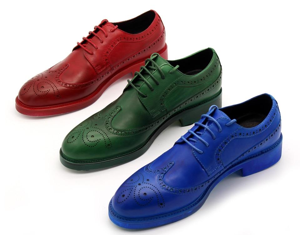 Hommes printemps automne mode populaire bleu vert rouge classique sculpté bas Top haute qualité en cuir véritable richelieu chaussures grande taille