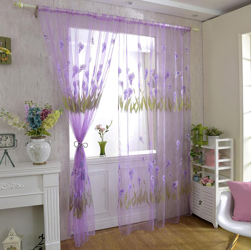2017 New Curtains Calla Lily Tulle Curtains For Living