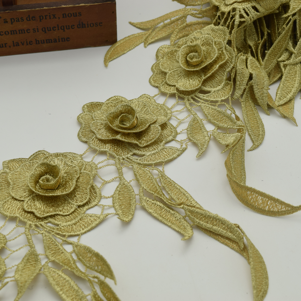 10yards Flower Lace Vintage Gold lace Trim Braid Ribbon Applique  Gold Fabric Sewing-in Lace from Home & Garden    1