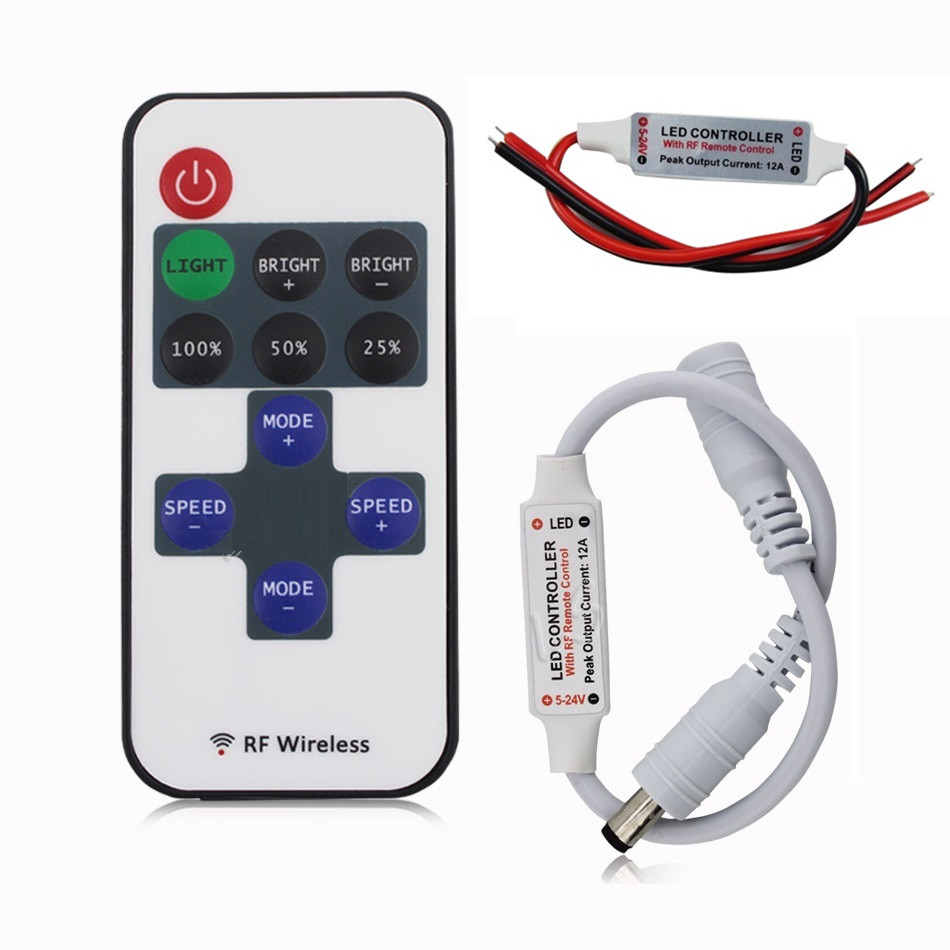 Mini DC 12V RF Wireless Led Controller Dimmer 6A For Control Single Color Strip Lighting 3528 5050 5630 3014 Led Strip
