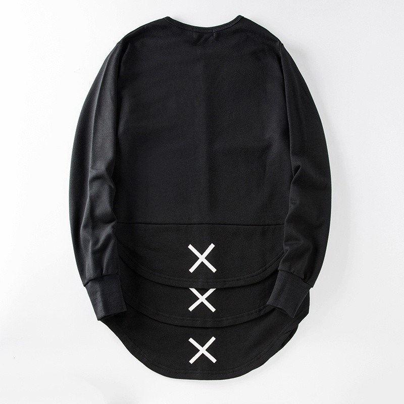 Cross Printed Hip Hop Sweatshirt Men 17Spring Streetwear Curved Hem Side Zipper Plain Mens Sweatshirts and Hoodies Man Clothes 27