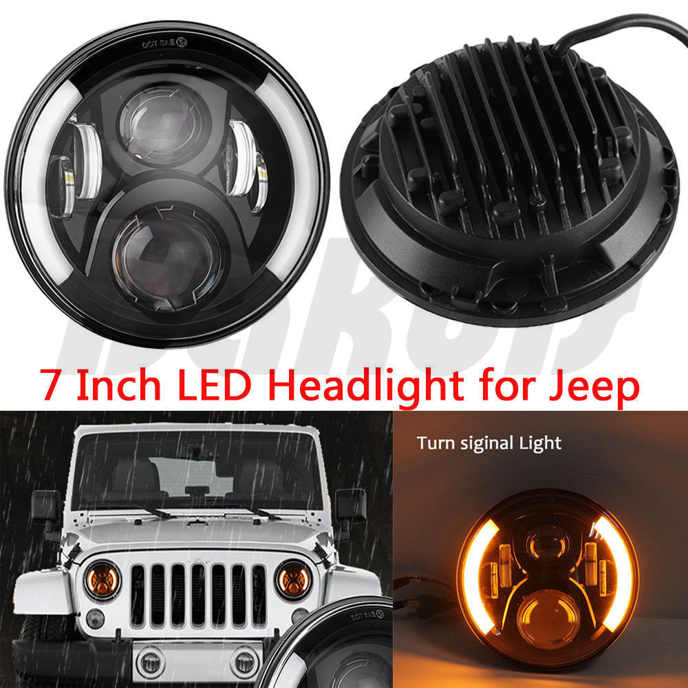 7 Inch LED Headlights Hi/Lo Beam With Daytime Running Light (DRL) For Lada 4x4 urban Niva (DOT Approved) h4 7 led headlights with led car canbus led chip 80w 8000lm 6000k hi lo led driving light for off road uaz lada
