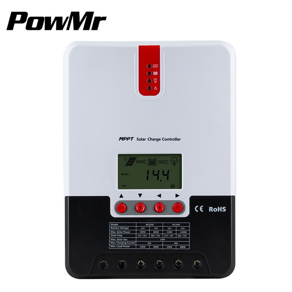 Контроллер заряда солнечной батареи MPPT 20A/30A/40A/60A, ЖК-дисплей, регулятор солнечной системы, контроллер с автоматической идентификацией напря...