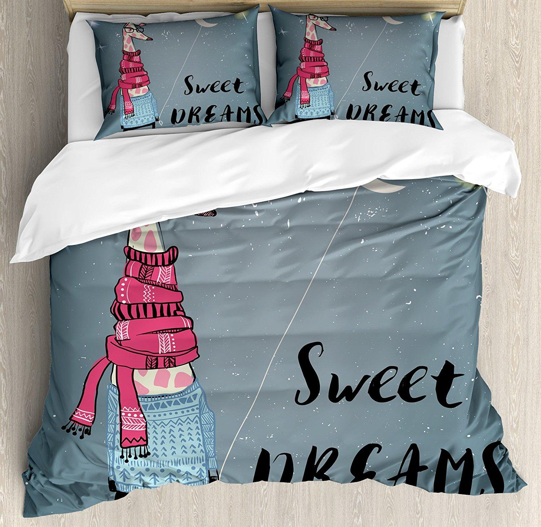 Жираф постельное белье ночное небо с полумесяц звезды абстрактный одеты зимний наряд животный принт 4 шт. Постельное белье