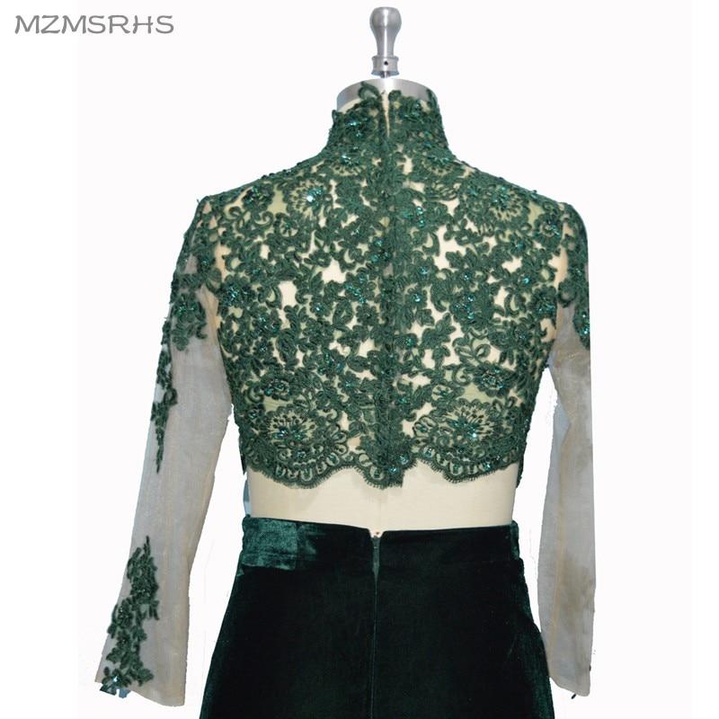 MZMSRHS Dy pjesë të rrobave prom me mëngë të gjata me aplikime - Fustane për raste të veçanta - Foto 5