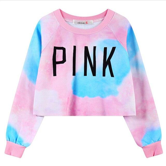 Bare-midriff Moletom Casual Women Clothes Pink Cool Harajuku Shirt Tops Tee Blusa Peplum Ropa Kawaii Crops Hoodies