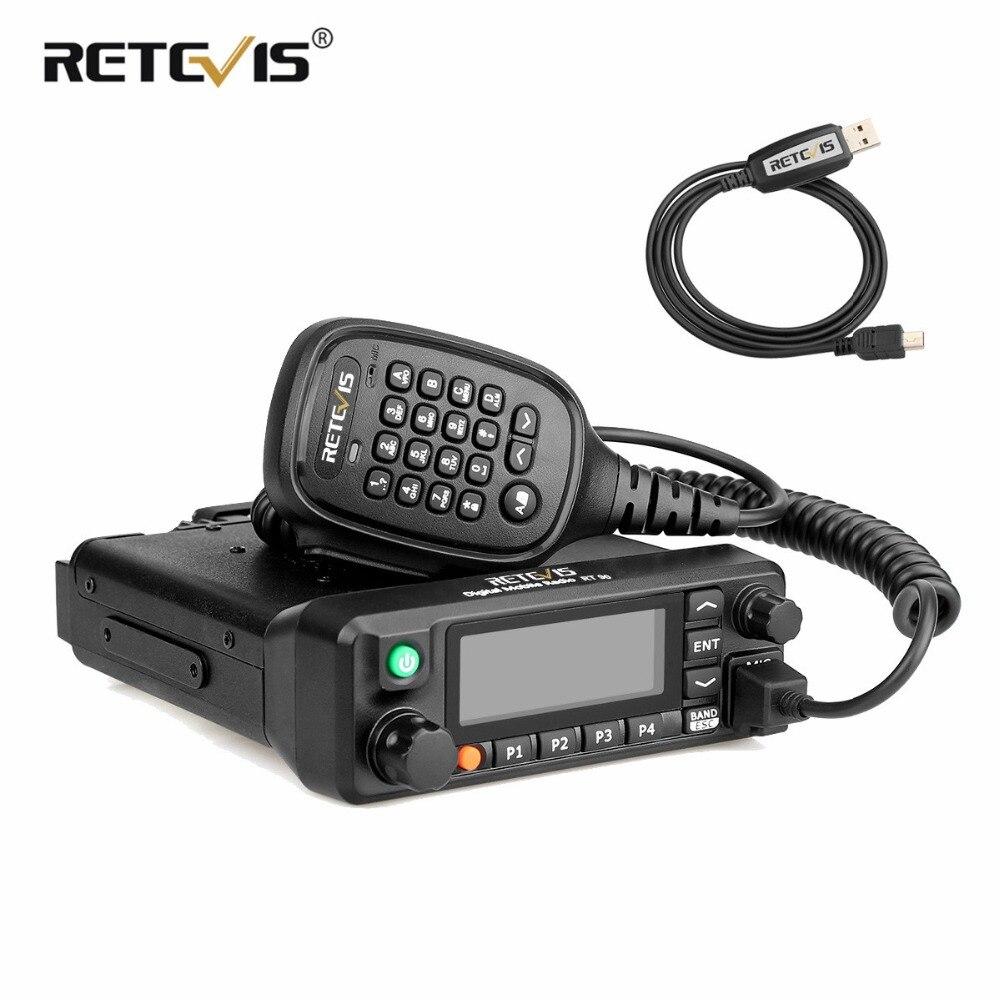 RETEVIS RT90 DMR цифровое мобильное Радио Автомобильная рация (gps) 50 W двухдиапазонный УКВ Хэм любительского радио станции трансивера + кабель
