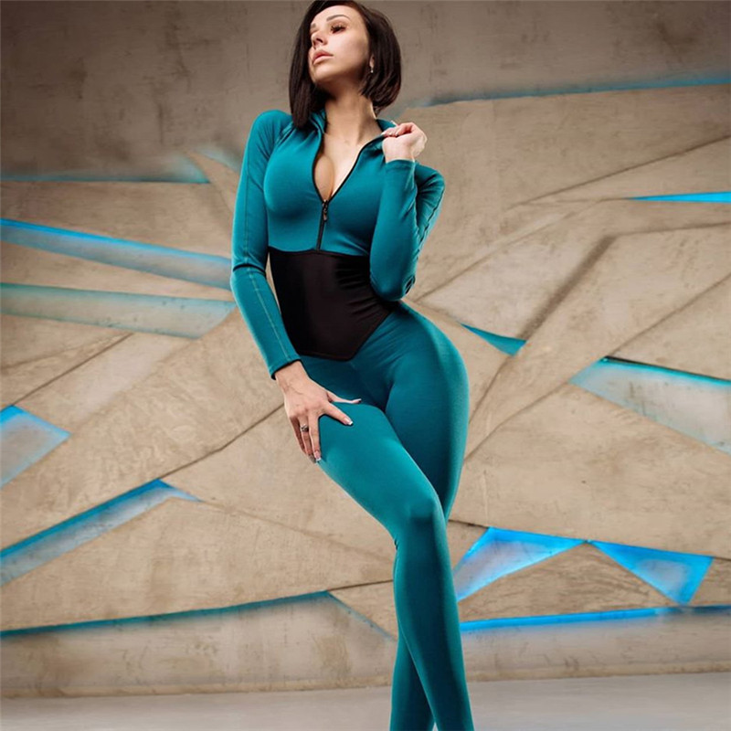 New Black Patchwork Sportswear Women Workout Jumpsuit Fitness Clothes Long Sleeve Solid Zipper Gym Clothing Active Wear Women