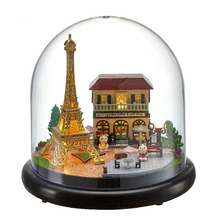 14*14*13.7cm DIY Cabin Hand-assembled Model Wisdom House Romantic Paris Creative Girl Birthday Gift DIY Toy