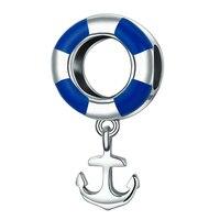 High End Funky Charms Bracciale 925 Sterling Silver Bianco Blu di Nuotata Barca D'argento Anchor Charms Monili Che Fanno Accessori 2.2G
