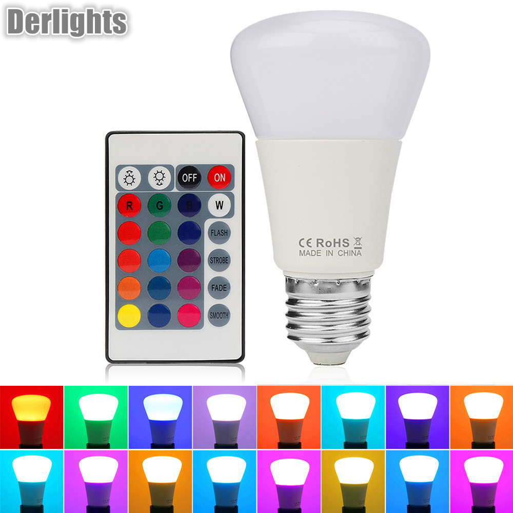 High Quality 5W E27 RGB Lamp 16 Colors Intelligent LED Light Bulb Lamps Spotlight+IR Remote Control Candle Lamp Ball Lamps