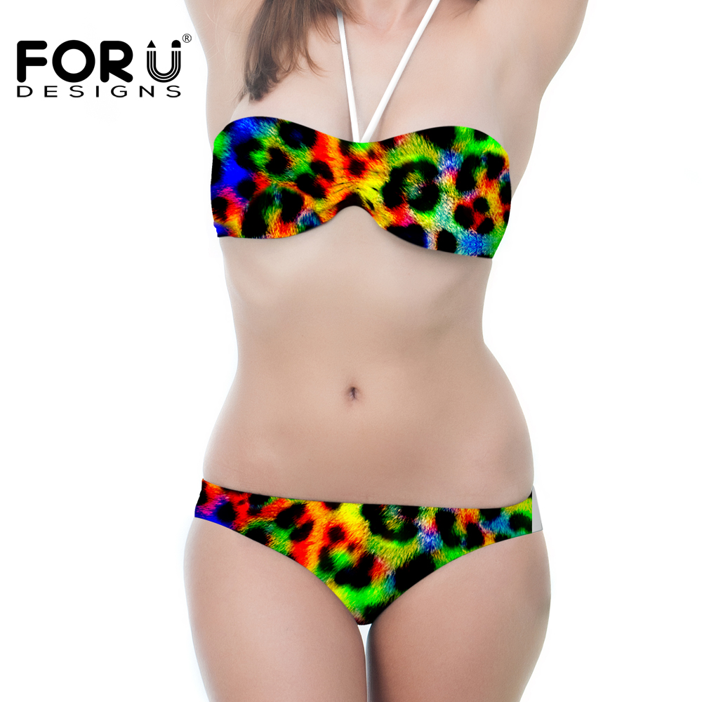 FORUDESIGNS Teenager Leopard Priting Camo Bikini Set Large Size Womens Camoudlage Design Push Up Beachwear Cheap Summer Swimsuit