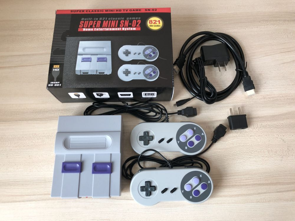 Mini HD HDMI TV Video Game Console Family Handheld Retro Game Console Built-In 821 Classic games for SNES Dual gamepad PAL&NTSC-29