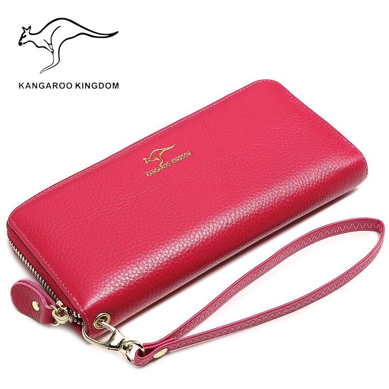 CANGURU REINO de luxo da marca mulheres carteiras de couro genuíno embreagem senhora longo bolsa titular do cartão de zipper carteira