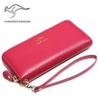 KANGAROO KINGDOM luxury brand women wallets genuine leather long lady clutch purse zipper card holder wallet