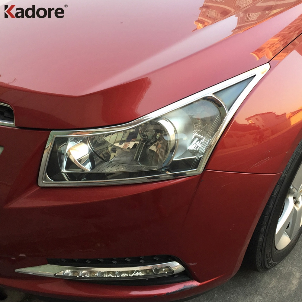 Car Styling For Chevrolet Cruze 2009 2010 2011 2012 2013 2014 ABS Chrome Car Front Head Light Lamp Cover Trim Headlight Frame