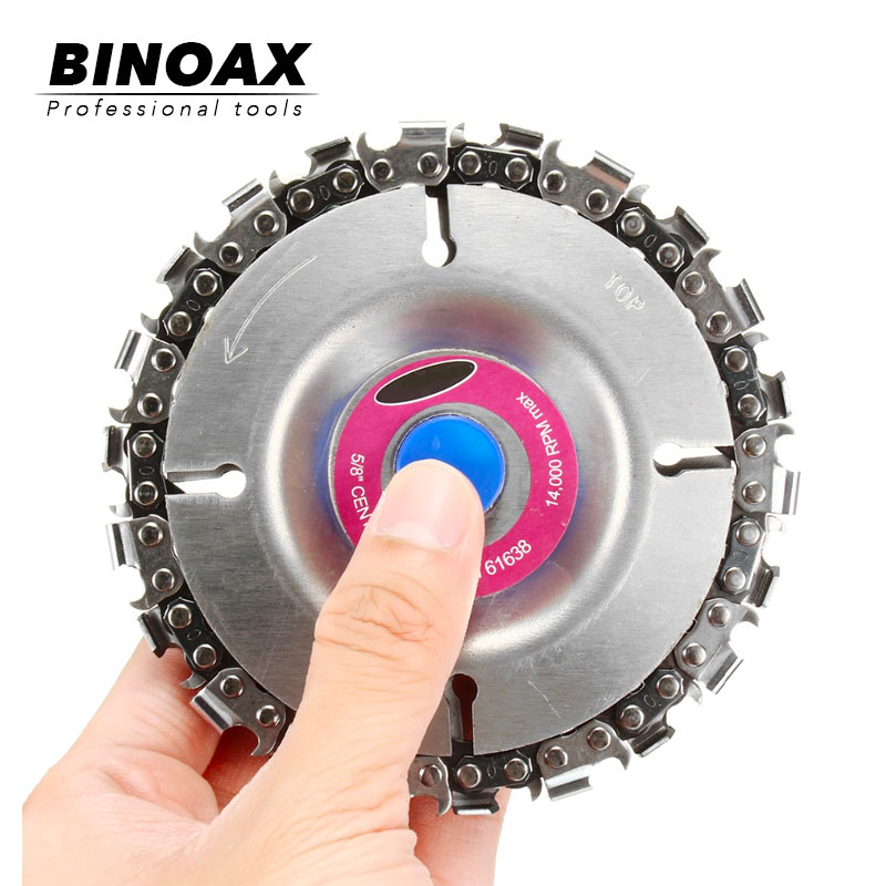 BINOAX 22 Tooth Grinder Chain Disc Wood Carving Disc 4 Inch For 100/115mm Angle Grinder