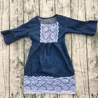 2017 Wholesale Boutique Toddler Girls Denim Fabric Dress Baby Girls Beautiful Lace Bib And Bottom Lace
