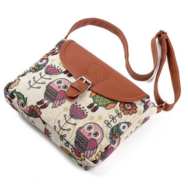 Women Messenger Bags Canvas Owl Animal Printed Crossbody Shoulder Bag Small Ladies Handbags Flap Bag For Girls High Quality 4