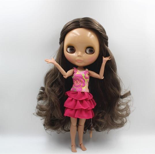 Blygirl marrom preto cachos blyth boneca pele