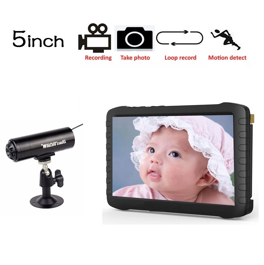 5.8GHz radio babysitter IR Night vision Motion Detection 8 Channels Multi-language Photos+Record 5.0inch LCD baby video monitor