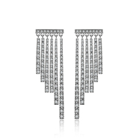 high quality Korean style jewellery wholesale white gold color plated tassel layer earrings micro paved with AAA cubic zirconia
