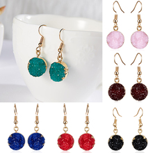 Rinhoo Trendy Femme Multi-color Geometric Round Drop Earrings Resin Natural Stone Fashion Statement Jewelry Accessories