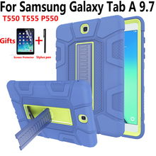 Tablet Cover Case for Samsung Galaxy Tab A 9.7 SM-T550 SM-T555 T550 P550 Tire Silicon Kid Shockproof Stand Skin Shell with Film smart case for samsung galaxy tab a 9 7 t550 t555 p550 sm t550 sm t555 cover slim stand pu leather case for samsung tab a 9 7