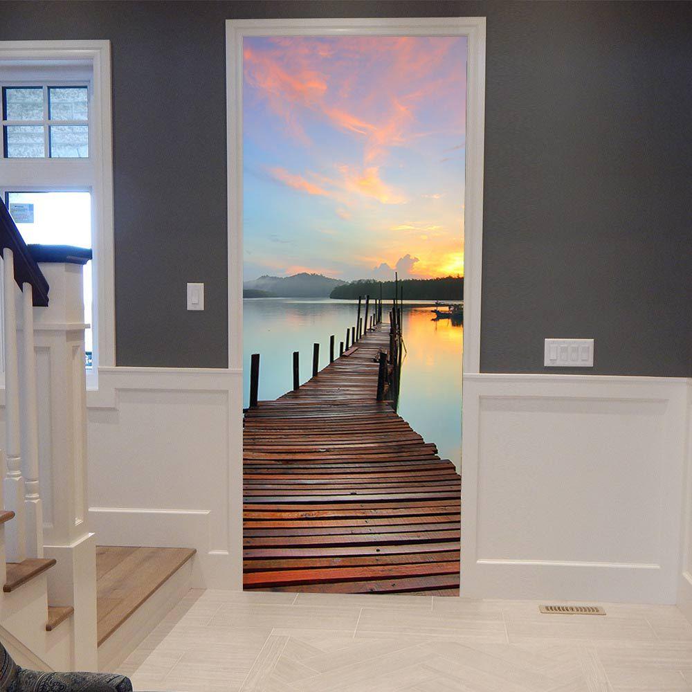 Sunset Glow Trestle Bridge Door Stickers 3D Photo Wallpaper Mural Living Room Bedroom Door Decoration Stickers