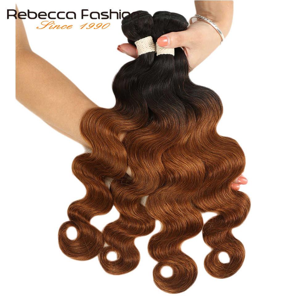 Ребекка эффектом деграде (переход от темного к малазийские волнистые волосы пучки волос 1/3/4 шт. волосы Remy 100% человеческие волосы пучки 2 тон Цвет T1B/27 # T1B/30 # T1B/99J #