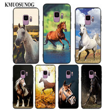 For Samsung Galaxy Note 9 8 S9 S8 Plus S7 S6 Edge S5 Mini Black Silicone Phone Case Running horse Style