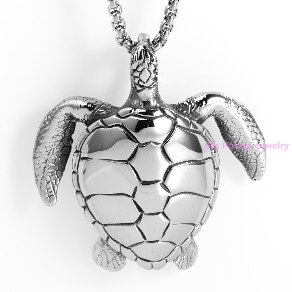 Top Quality 316L Stainless Steel Distinctive Refinement Silver Sea Turtle  Pendant Men Best Gift Jewelry Free Box Aberdeen Chain 488f3c4c4c49