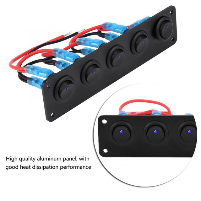 12-24V 5 Gang Round Dash Rocker Toggle Switch Panel Blue LED for RV Boat Yacht Marine Car Switches Panel