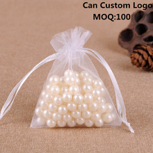 Hot Sale 100pcs/lot 7x9cm White Wedding Christmas Organza Gift Jewelry Bags Tulle Packing Packages Accept Custom Logo Printing