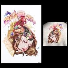 Temporary Tatoo 1PC Flower Body Arm Art Decal For Women Men HB447 Dream Beauty 3D Girl Fairy Tale Design Harajuku Tattoo Sticker