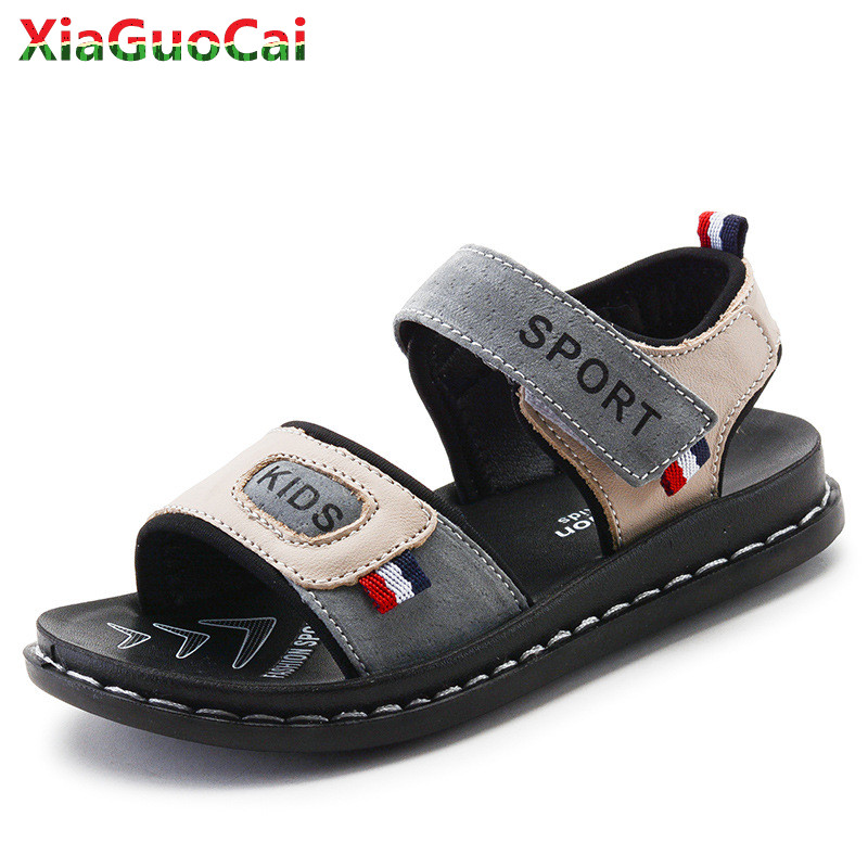 Summer Children Kids Genuine Cow Leather Sandals Boys Girls Non-slip Soft Bottom Open Toe Hook & Loop Shoes High quality A37 10