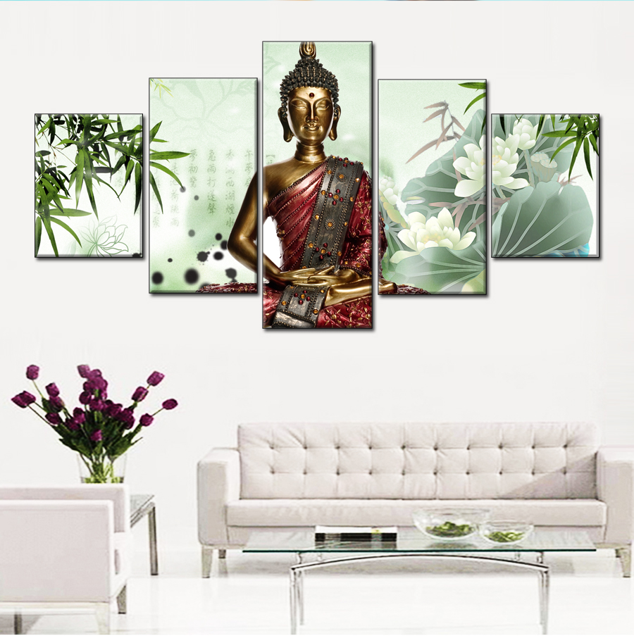 online get cheap statue picture aliexpress com alibaba group unframed 5pcs china bamboo thai buddha statue canvas painting home wall art decoration picture china