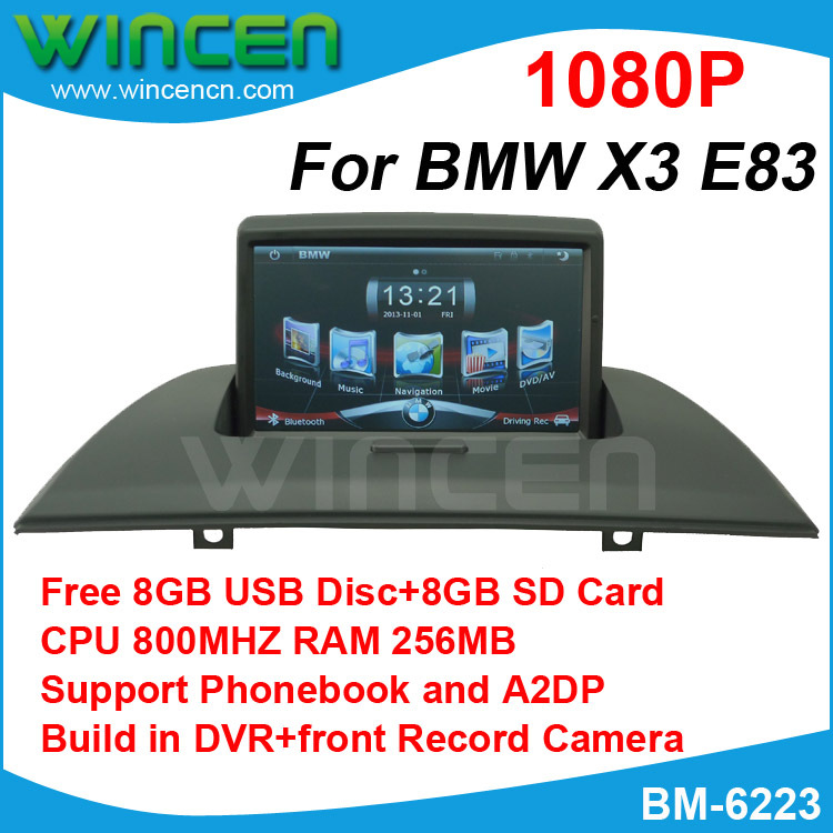 2013 Newest 1080P 7 Car DVD GPS Player for BMW X3 E83 800MHz CPU 512MB RAM build in DVR support phonebook Free 8GB USB 8G SD