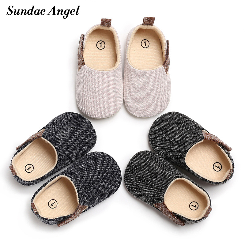 Sundae Angel Baby Shoes Boy Solid Hook Loop Silicone Anti-slip Casual Baby Boy First Walkers Infant Crib Shoes For 0 3 6 9 12 18
