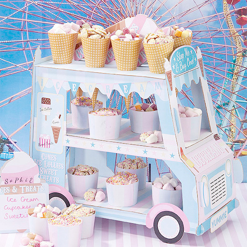 Cartoon Cardboard 3 Tier Cupcake Stand Party Supplies Kid <font><b>Birthday</b></font> Decorative Ice Cream Stand Cars Cake Dessert Stands TE-0163