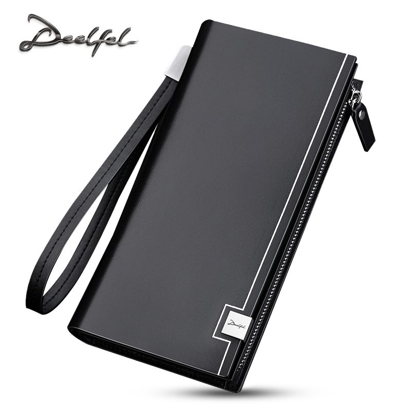 купить DEELFEL 2017 Luxury Brand Men Wallets Long Men Purse Wallet Male Clutch Genuine Leather Wallet Men Business Male Wallet Coin по цене 1194.72 рублей