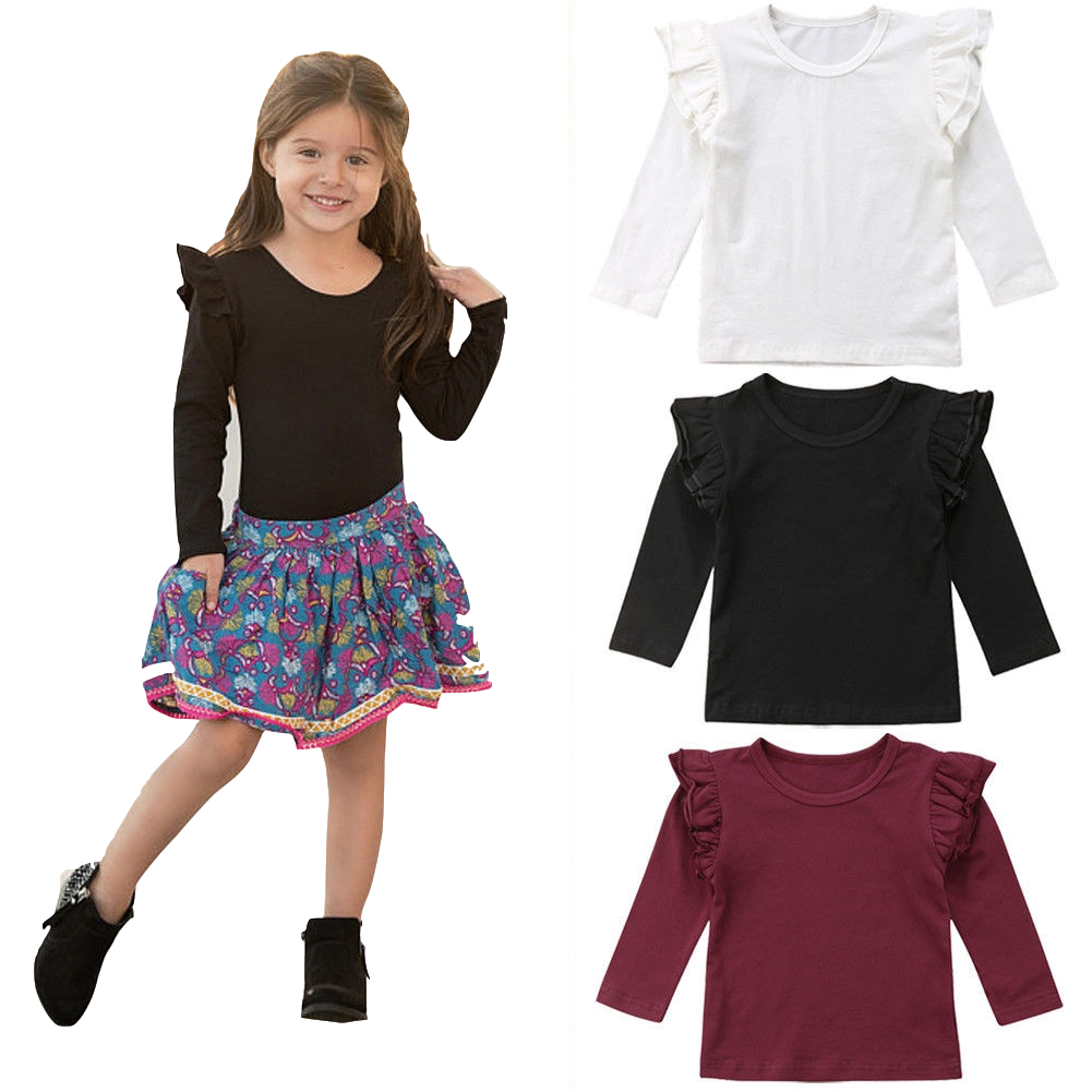 T-Shirt Flying-Sleeve Girls Cotton Blouse Tee-Tops Kids New 0-5T Pullover