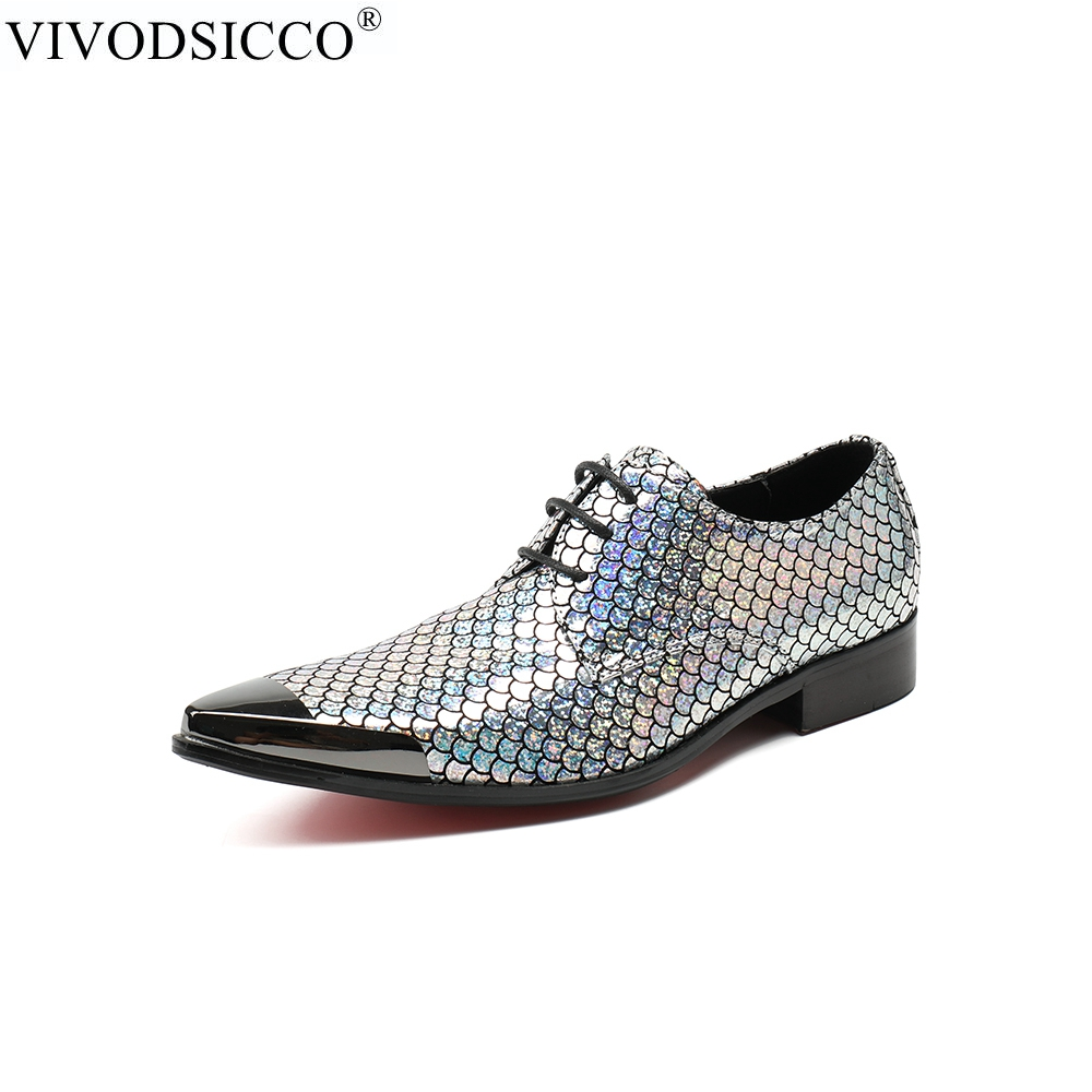 купить VIVODSICCO New Business Office Men Dress Shoes Man Fish Scales Leather Shoes Wedding Shoe Social Sapato Male Oxfords Flats Shoes недорого