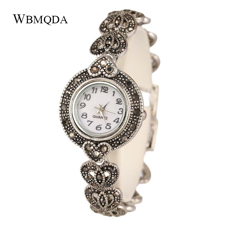 Fashion Heart Antique Silver Crystal Love Metal Watch Bracelets For Women Luxury Charm Bracelet Watches Fashion Jewelry 2018 newest crystal jewelry heart love pendant watch steel alloy chain bracelet bangle quartz wristwatch for fashion women silver